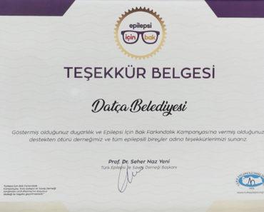 Datça Belediyesi'ne Teşekkür Belgesi verildi